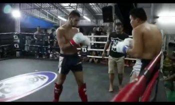 Amateur rules Muay Thai fight at PTT Patrik Vidakovics (Hungary) Vs Lecheghzi (China)