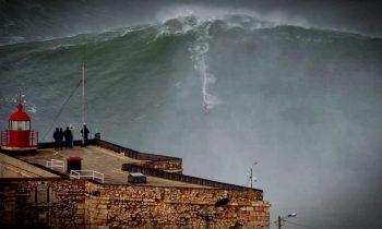 100ft World Record Wave, Garrett McNamara Surfing Nazare, Portugal